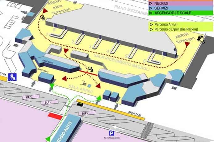 מפה של נמל התעופה של טורינו